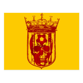 Hard core Spanish futbol fans skull shield gifts Postcard
