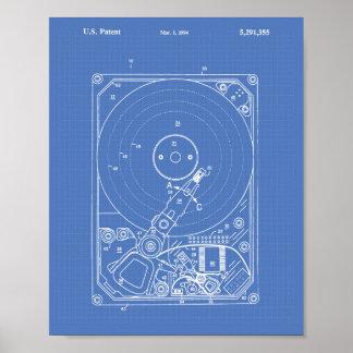 Hard Disk Drive 1994 Patent Art Blueprint Poster