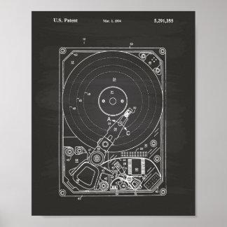 Hard Disk Drive 1994 Patent Art Chalkboard Poster