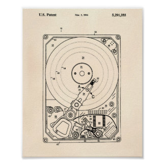 Hard Disk Drive 1994 Patent Art Old Peper Poster