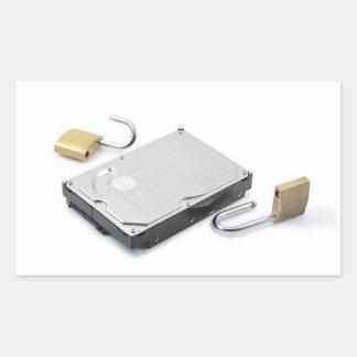 Hard disk protection broken on a white background rectangular sticker