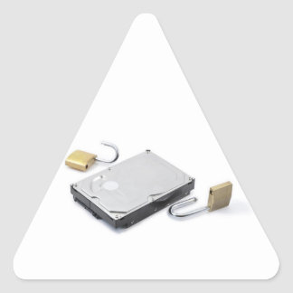 Hard disk protection broken on a white background triangle sticker