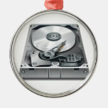 Hard Disk Round Metal Christmas Ornament