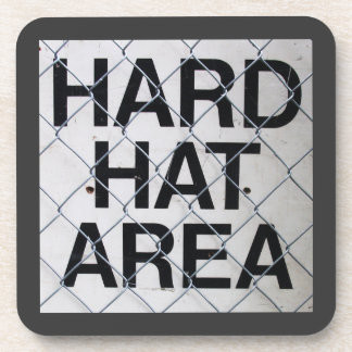 Hard Hat Area Sign under Chain-Link Fence Coaster
