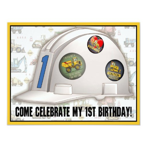 "Hard Hat Construction 1st Birthday Party Invite 4.25"" X 5.5"" Invitation Card"