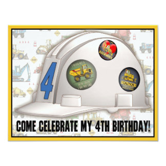Hard Hat Construction 4th Birthday Party Invite