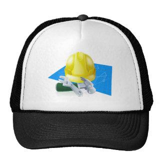 Hard hat tools and blueprint
