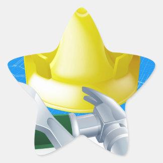 Hard hat tools and blueprint star sticker