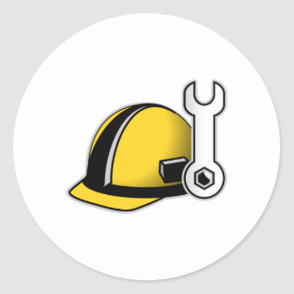 Hard Hat with Wrench Classic Round Sticker