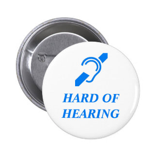 Hard of Hearing Blue on White Background Button