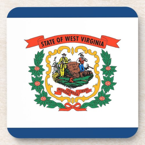 Hard plastic coaster with flag of West Virginia