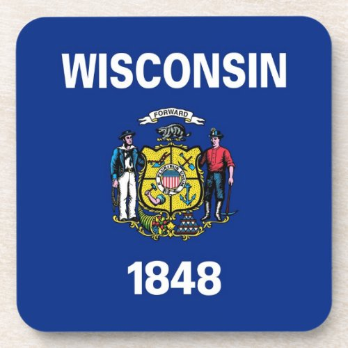 Hard plastic coaster with flag of Wisconsin