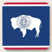 Hard plastic coaster with flag of Wyoming
