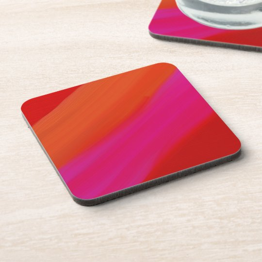 Hard Plastic Coasters With Cork Back - Red
