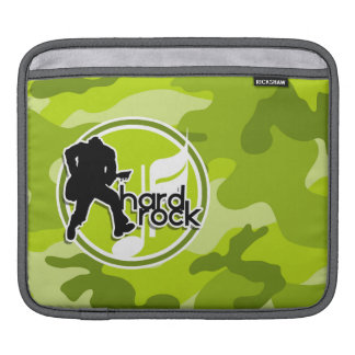 Hard Rock; bright green camo, camouflage iPad Sleeves