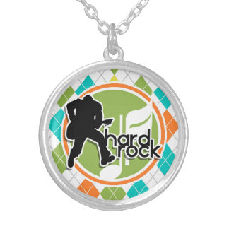 Hard Rock; Colorful Argyle Pattern Personalized Necklace