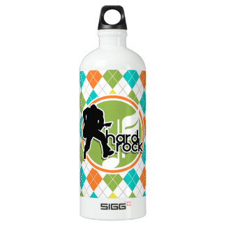 Hard Rock; Colorful Argyle Pattern Water Bottle