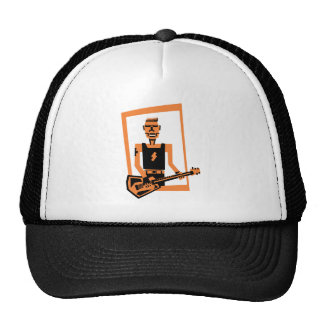 hard rock /heavy metal  guitar player trucker hat