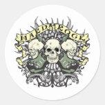 Hard Rock Skull and Guitars Classic Round Sticker