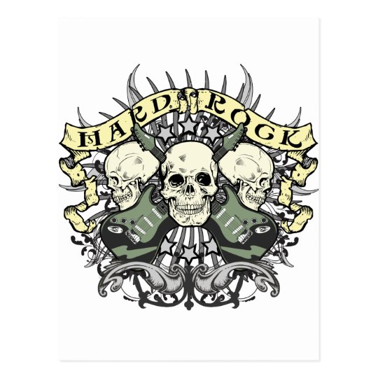 Hard Rock Skull and Guitars Postcard