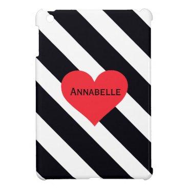 Hard shell iPad Mini Case Black White Stripes