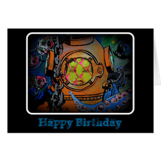 """""""Hard times for the Aquanaut"""" Birthday Card"""