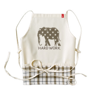 Hard Work Elephant Funny Stylish Silhouette Stars Zazzle HEART Apron