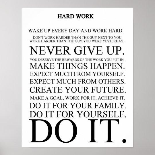Hard Work Manifesto Poster Zazzle Com
