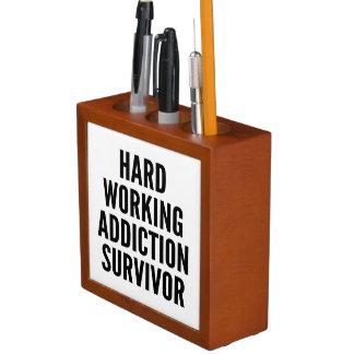 Hard Working Addiction Survivor Desk Organizers