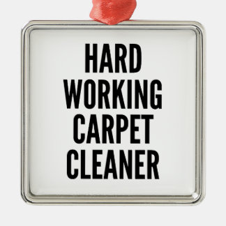 Hard Working Carpet Cleaner Square Metal Christmas Ornament
