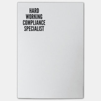 Hard Working Compliance Specialist Post-it Notes