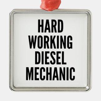 Hard Working Diesel Mechanic Square Metal Christmas Ornament