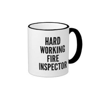 Hard Working Fire Inspector Ringer Coffee Mug