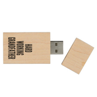 Hard Working Grandfather Wood USB 2.0 Flash Drive