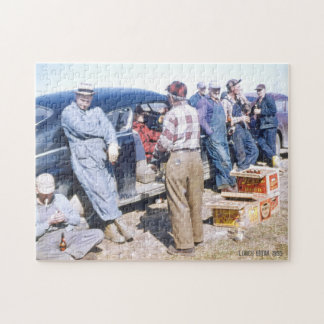 Hard Working Men on Lunch Break Beer & Cigarettes Jigsaw Puzzle