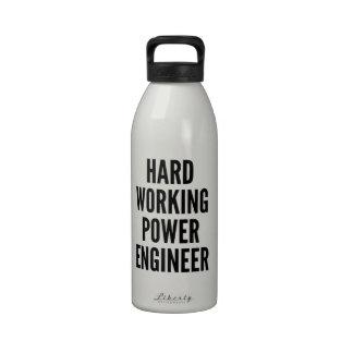 Hard Working Power Engineer Reusable Water Bottle