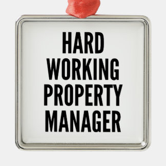 Hard Working Property Manager Square Metal Christmas Ornament