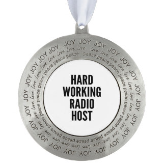 Hard Working Radio Host Round Pewter Christmas Ornament