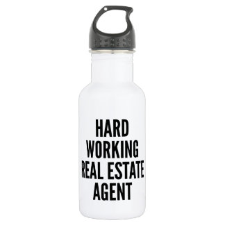 Hard Working Real Estate Agent Stainless Steel Water Bottle