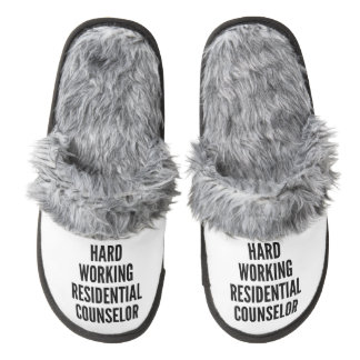 Hard Working Residential Counselor Pair Of Fuzzy Slippers