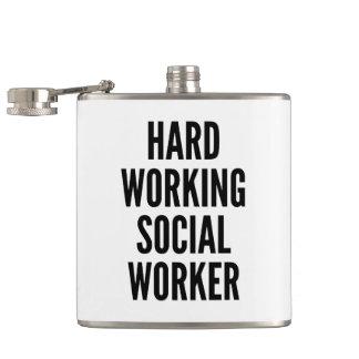 Hard Working Social Worker Hip Flask