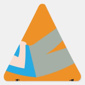 Hard working student triangle sticker