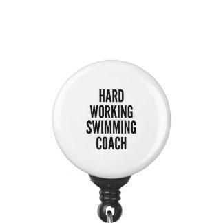 Hard Working Swimming Coach Badge Holder
