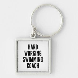 Hard Working Swimming Coach Keychain