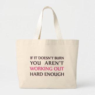 Hard Workout Saying Large Tote Bag