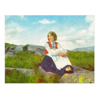 Hardanger costume, Norway Vintage image, Postcard