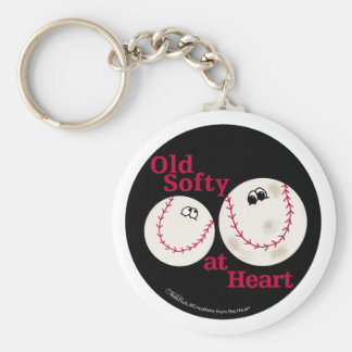 Hardball and Softball Old Softy at Heart Basic Round Button Keychain