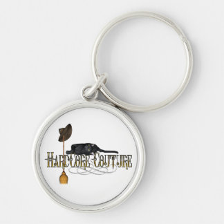 Hardcore Couture Cat Broom Design Silver-Colored Round Keychain