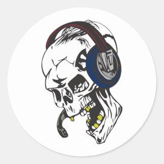 hardcore dee jay skull classic round sticker