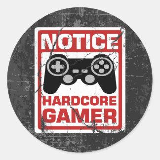 Hardcore Gamer Notice Signboard Classic Round Sticker